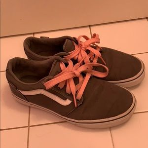 Gray Old Skool Vans with Pink Laces